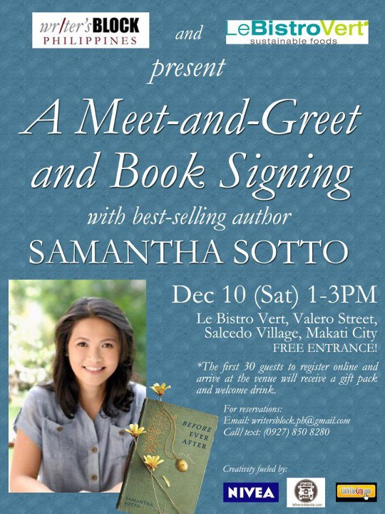 Meet and Greet Samantha Sotto, author of Before Ever After