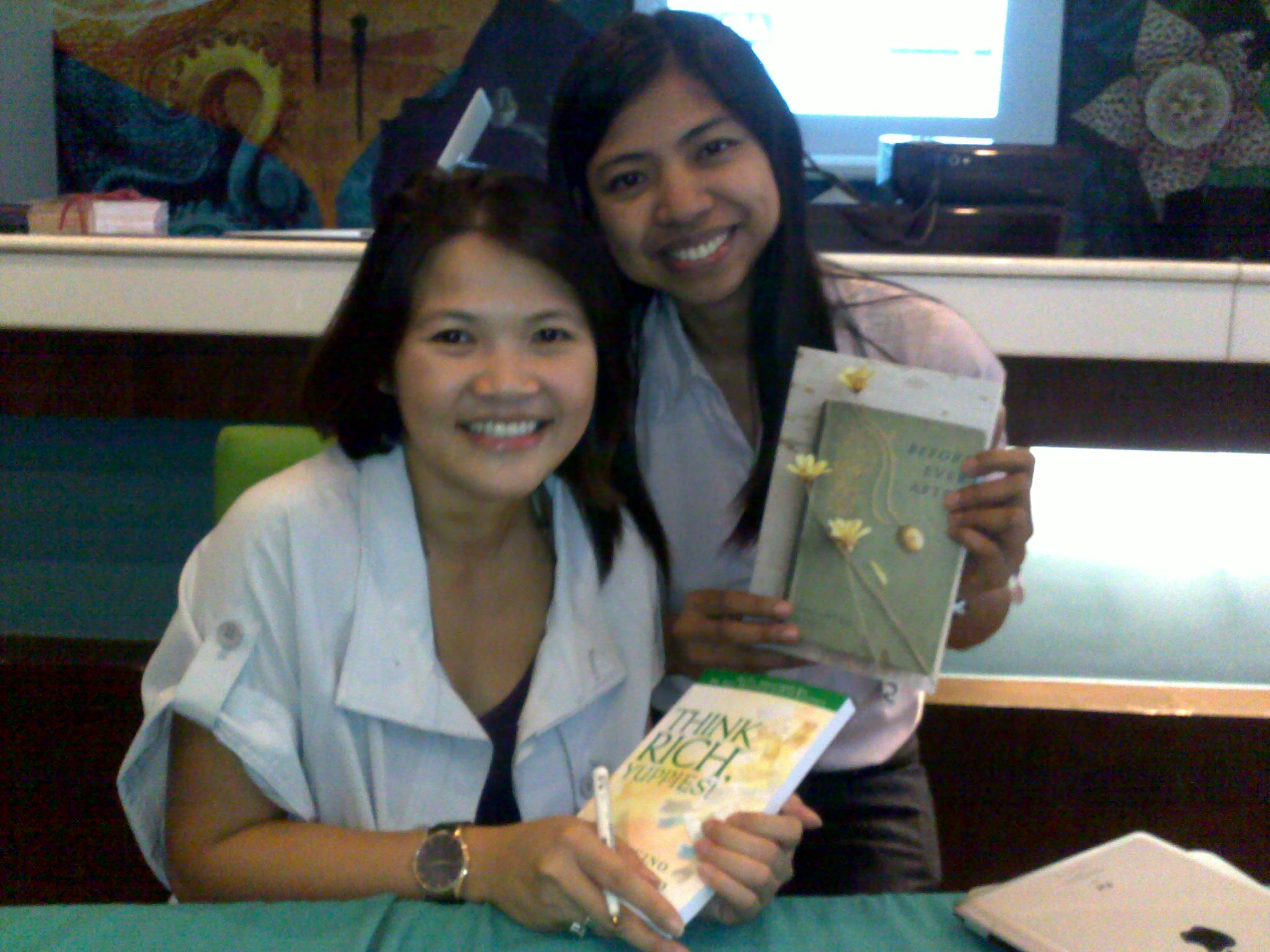 Samantha Sotto and I; she's holding my book and I'm holding her best-seller Before Ever After