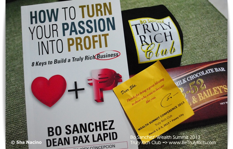 Bro. Bo Sanchez' latest Book with Dean Pax Lapid, Truly Rich Club shirt, chocolate, and a Personal Note from Bro. Bo Sanchez