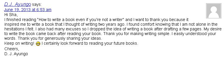 "What People Say About Sha's eBook ""How to Write a Book Even if You're Not a Writer"""