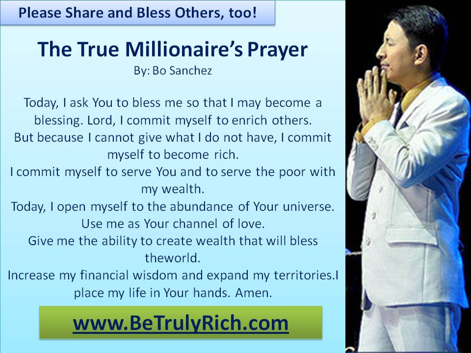 The True Millionaire's Prayer by Bo Sanchez