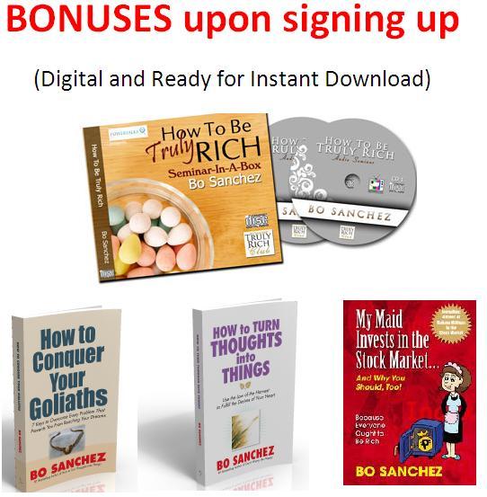 Bonuses from Bo Sanchez, Truly Rich Club