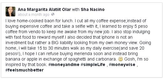 Ana shared her resolutions after reading the book Money & Me