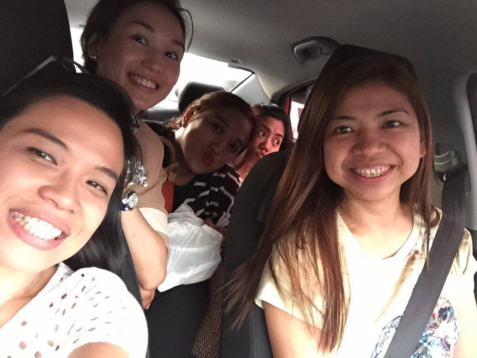 With my friends and fellow trainers.. Kat, Jill, Divine, and Trix. Sitting in traffic after the training. <3